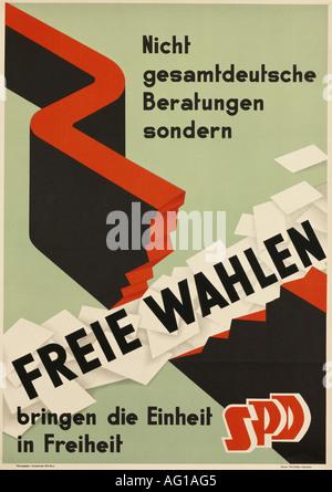 geography/travel, Germany, politics, 'Freie Wahlen bringen die Einheit in Freiheit', Sozialdemokratische Partei - Stock Photo