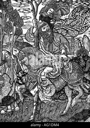 Christopher, + circa 250, Saint, Martyr, 'Christopher riding on a horse and carrying the Jesus child', engraving, - Stock Photo