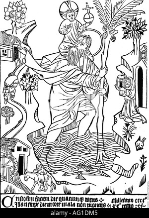 Christopher, + circa 250, Saint, Martyr, 'Saint Christoph of Buxheim', woodcut, 15th century, Christophorus carrying - Stock Photo