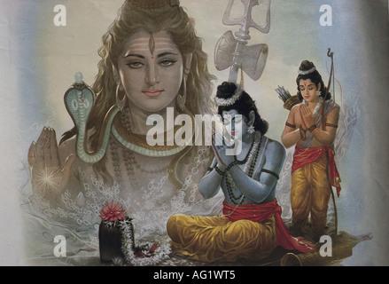 Rama, indian God, seventh incarnation of Vishnu, praying, painting, 20th century, India, Shiva in the background, - Stock Photo