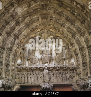 architecture, churches and convents, detail, Tympanum, last judgement, south porch, Notre-Dame cathedral, built - Stock Photo
