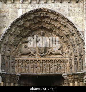 architecture, churches and convents, detail, exterior view, Tympanum, main porch, Notre-Dame cathedral, built 1196 - Stock Photo