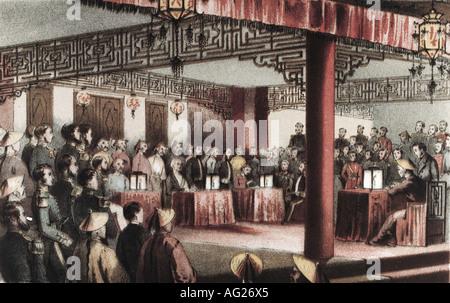 events, Second Opium War 1856 - 1860, treaties of Tientsin, 26.6.1858 - 29.6.1858, signing, engraving by Hanhart - Stock Photo