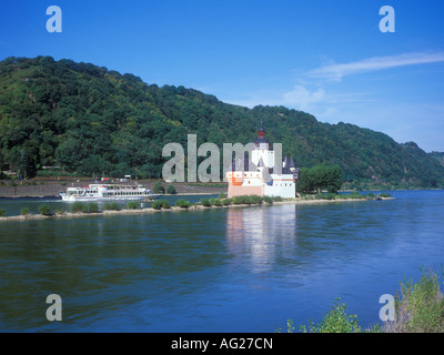 Pfalzgrafenstein Castle built in the middle of the River Rhine near Kaub in Germany - Stock Photo