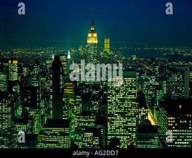 New York City midtown area at night showing Empire State Building - Stock Photo