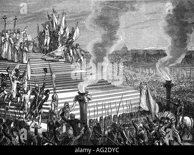 geography/travel, France, revolution 1789 - 1799, festivity of the Conferation, Champ de Mars, Paris, 17.7.1790, - Stock Photo