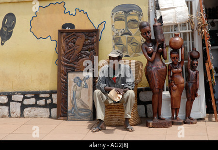 A souvenir shop selling African artcrft in the city of  Kigali capital of Rwanda Africa - Stock Photo