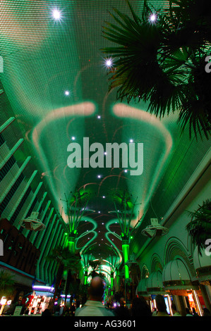 Light and sound show on Fremont Street in Downtown Las Vegas Nevada - Stock Photo