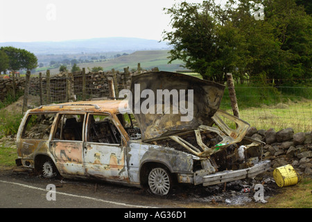 Stolen Volvo Estate burnt out on the roadside in countryside South Wales UK - Stock Photo