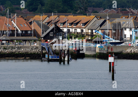 the entrance and lock to hythe marina village southampton water solent hampshire hythe uk new forest - Stock Photo
