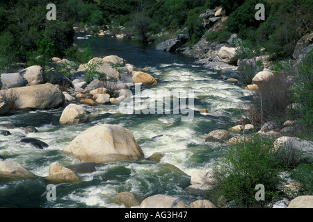 Kaweah River in spring in the Sierra Foothills near Three Rivers Tulare County California  - Stock Photo