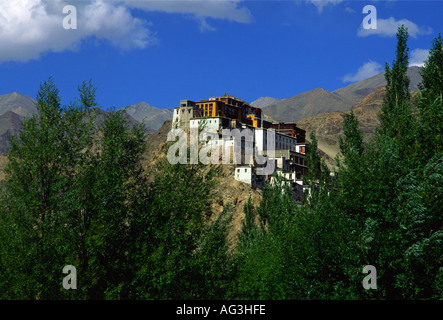 Thicksey Gompa near Leh as seen from Indus Valley, Ladakh, northern India - Stock Photo