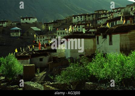 Late afternoon sun in the Tibetan village Kibbur 4205 m Himachal Pradesh northern India - Stock Photo