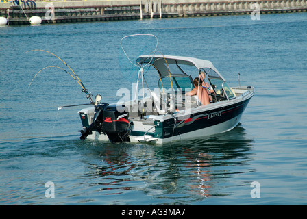 Recreational boating on Lake Michigan at Manistee Michigan - Stock Photo