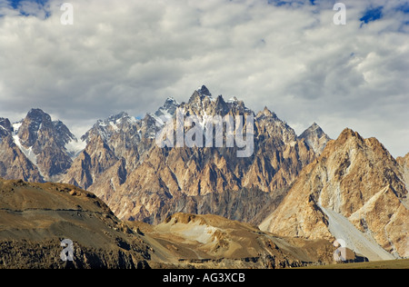 The Passu cones of Hunza as seen from the Karakoram Highway in northern Pakistan - Stock Photo