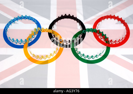 Union Jack flag and olympic symbol - Stock Photo