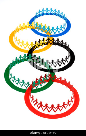 Olympic flag and paper chain people - Stock Photo