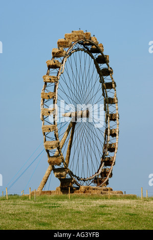 London Eye sculpture made from straw bales Nantwich Cheshire England UK - Stock Photo