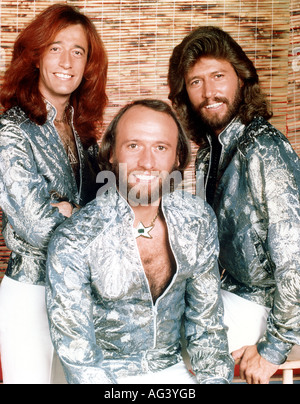BEE GEES Promotional photo of Australian pop group from left Robin, Maurice and Barry Gibb about 1978 - Stock Photo