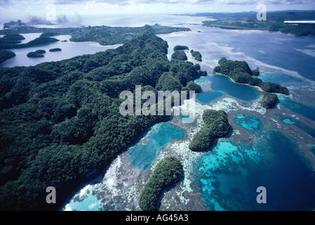 Aerial view of Fringing Coral Reef and Islands Palau Islands Micronesia Pacific Ocean - Stock Photo