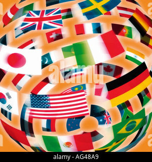 International Flags in the shape of a globe against an orange background. Flag World. - Stock Photo