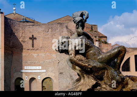Fontana delle Naiadi with church Santa Maria degli Angeli in the background Piazza della Repubblica Rome Italy - Stock Photo