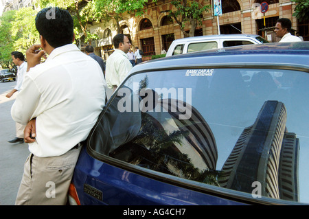 Reflection of BSE Bombay Stock Exchange on car at Dalal Street in Bombay now Mumbai Maharashtra India - ASB 79425 - Stock Photo