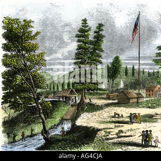 Sutters Mill the site of gold discovery by James Marshall in California 1848. Hand-colored woodcut - Stock Photo