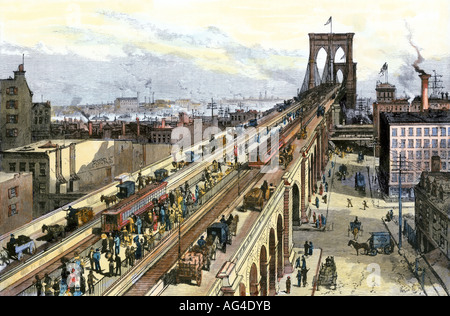 Traffic on the Brooklyn Bridge seen from the Manhattan side just after it opened in 1883. Hand-colored woodcut - Stock Photo