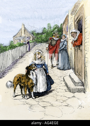 Colonists on an old Jamestown street in Virginia Colony 1600s. Hand-colored woodcut - Stock Photo