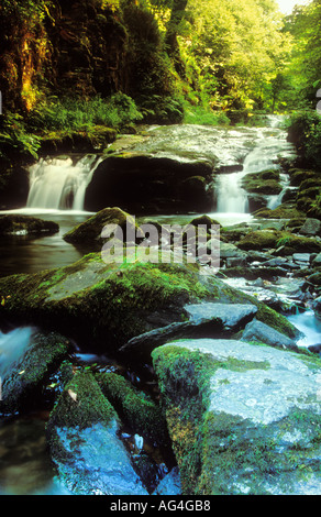 Waterfall at Watersmeet Exmoor National Park Devon England UK - Stock Photo