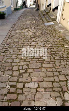Cobbled Hocker Hill Street in town of Chepstow Monmouthshire South East Wales UK - Stock Photo