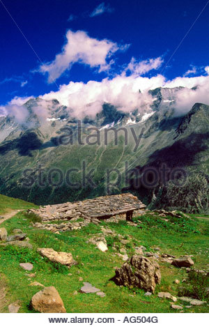 Along a hiking path on the Haute Route near the village of Arolla Switzerland - Stock Photo