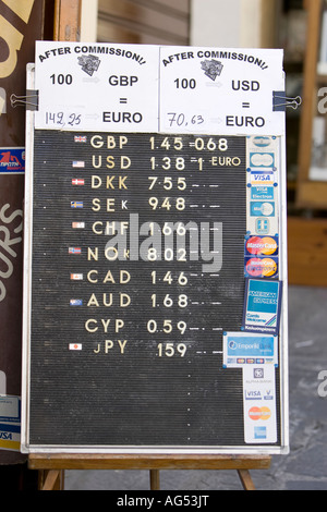 Currency Exchange board in Rhodes Old Town Rhodes Greece - Stock Photo