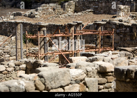 Ancient Kameiros, ruined dwellings and temples dating back to the Hellenistic period on the Greek island of Rhodes - Stock Photo