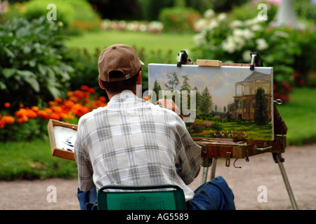 Artist Painting at Tsarkoe Selo Park Nr St Petersburg Russian Federation - Stock Photo