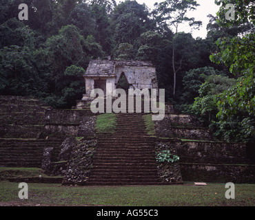 Temple of the Sun Mayan stepped Pyramid Palenque Chiapas Mexico - Stock Photo