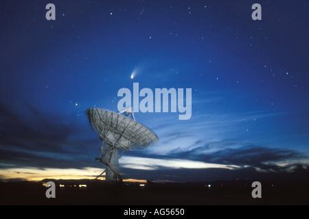 Comet Hale Bopp and VLA Radio telescope - Stock Photo