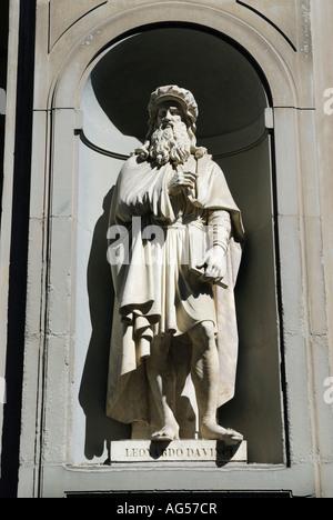 Statue of Leonardo da Vinci at the Uffizi Gallery Florence Tuscany Italy - Stock Photo