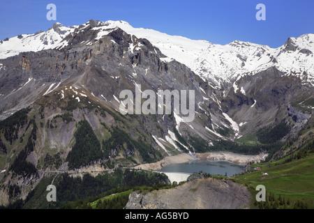 tseuzier dam in the alps - Stock Photo