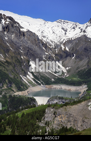 tseuzier dam in the alps - Stock Photo