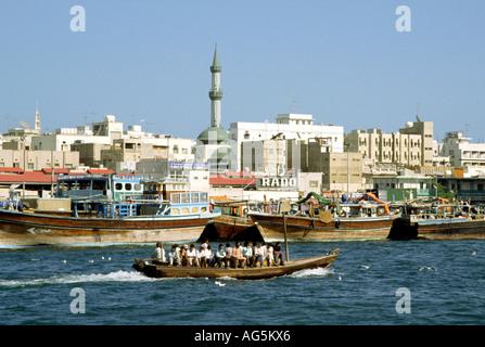 United Arab Emirates Dubai Abra water taxi on the creek - Stock Photo