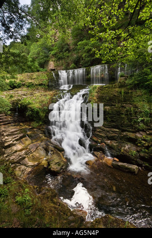 Wide angle view of Sgwd Isaf Clun Gwyn waterfall in the Brecon Beacons National Park of Wales United Kingdom - Stock Photo