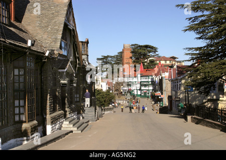 India Himachal Pradesh Shimla Simla Hill Station Scandal Point from town hall towards Post Office - Stock Photo