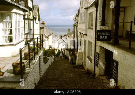Devon Clovelly road leading down to the harbour - Stock Photo
