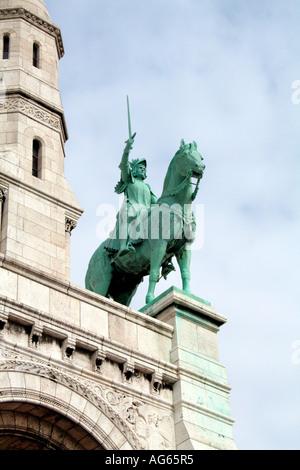 Joan of Arc statue Sacre Coeur de Montmartre Paris Jean D Arc - Stock Photo