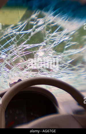 Shattered Windshield after car accident, New York, USA - Stock Photo