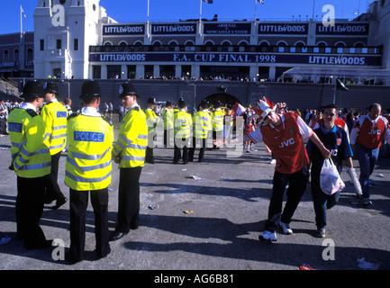Metropolitan Police on duty at a Football match at Wembley London England - Stock Photo