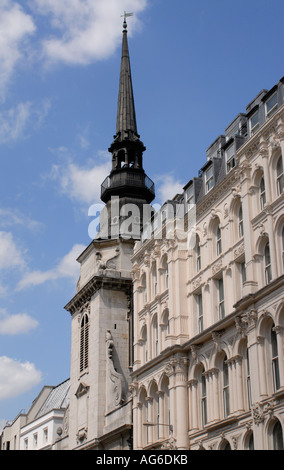 Tower and spire of the church of St Martin within Ludgate Ludgate Hill City of London UK 23 June 2006 - Stock Photo