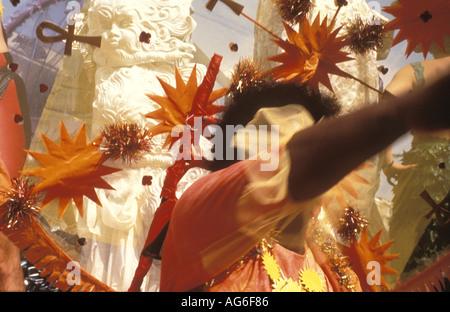 Notting Hill carnival scene in London Great Britain - Stock Photo